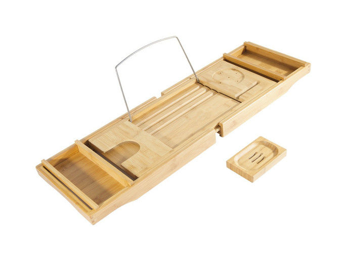 Bamboo Bathroom suppliers Bathtub Caddy with Extending Sides and Adjustable Book Holder