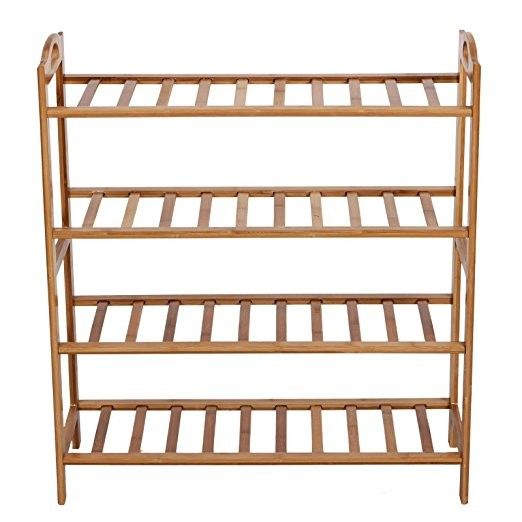 100% Natural Bamboo Shoe Bench Shoe Storage Racks Shelf Organizer 4 Layer